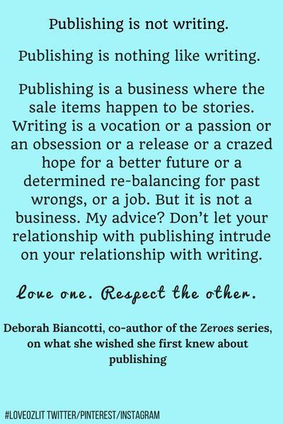 Deborah Biancotti LoveOzLit Deborah Biancotti on the difference between publishing