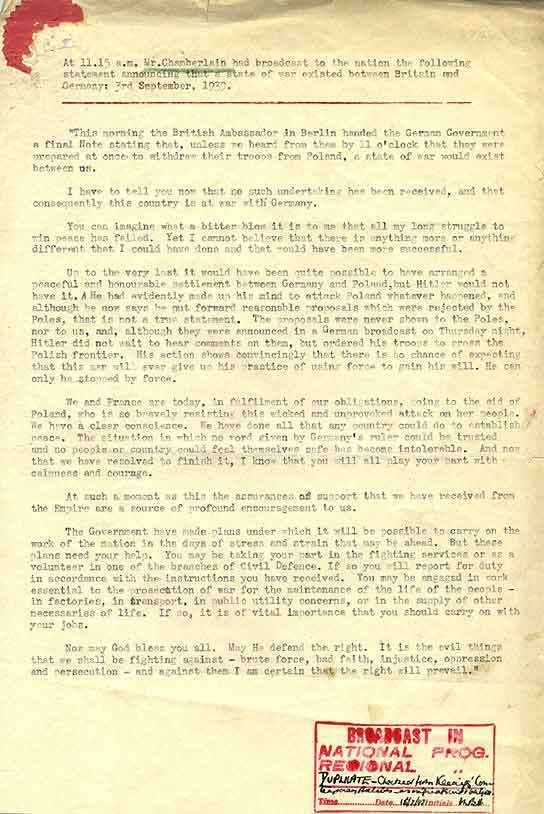 Declaration of war BBC Archive WWII Outbreak The Transcript of Neville
