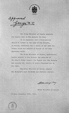 Declaration of war Declaration of war by Canada Wikipedia