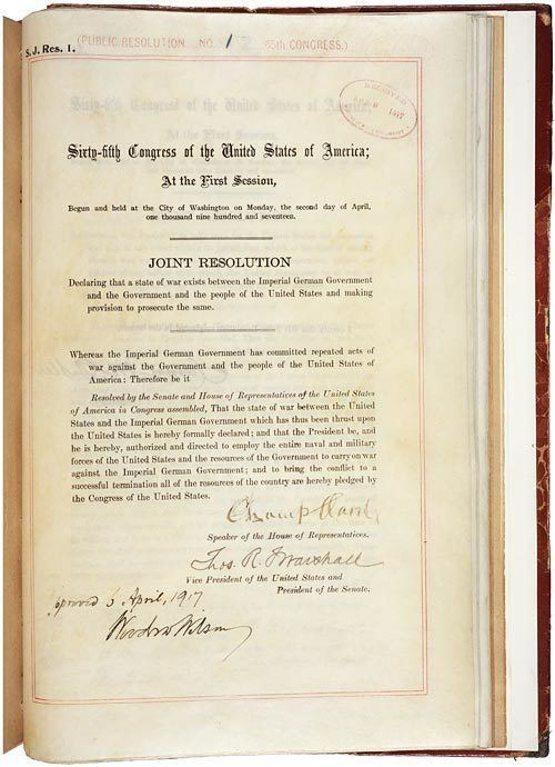 Declaration of war Our Documents Joint Address to Congress Leading to a Declaration