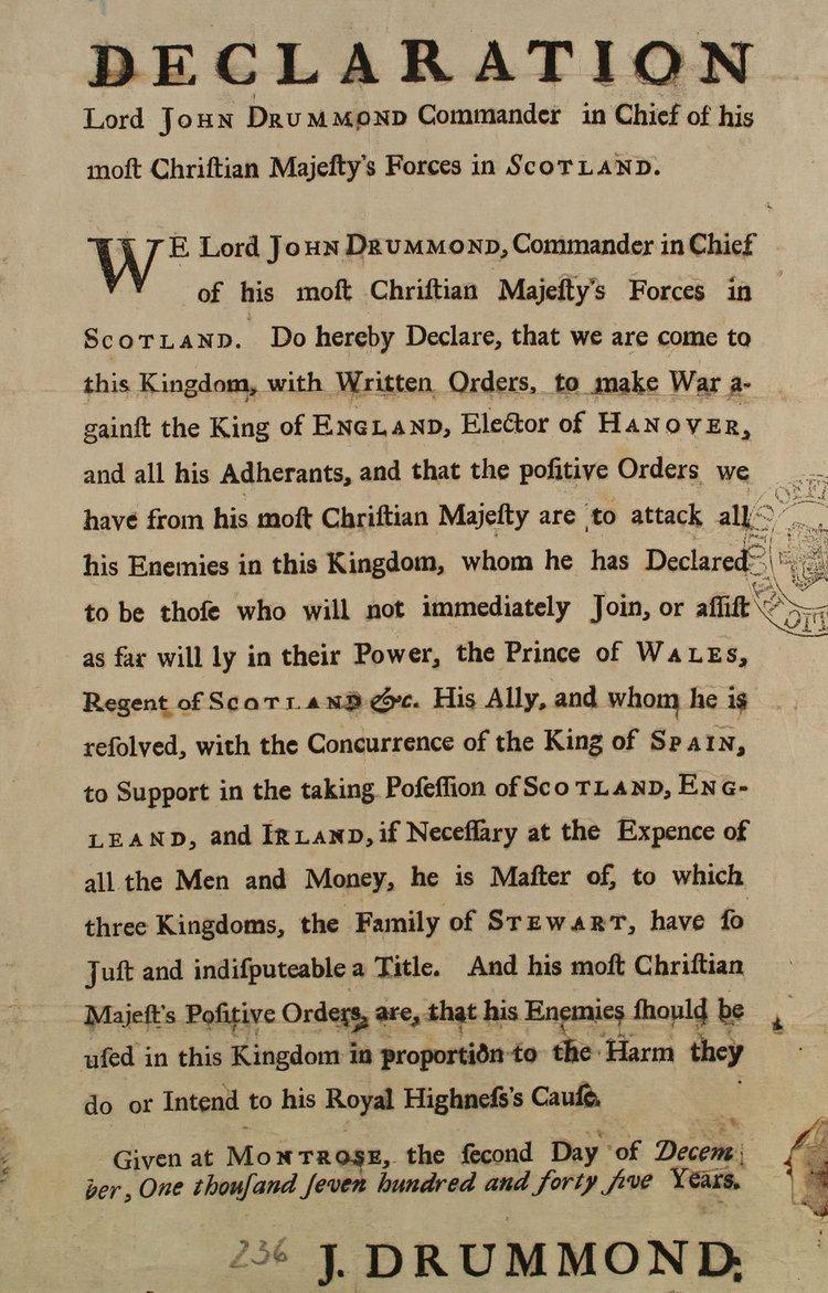 Declaration of war Jacobite declaration of war The National Archives