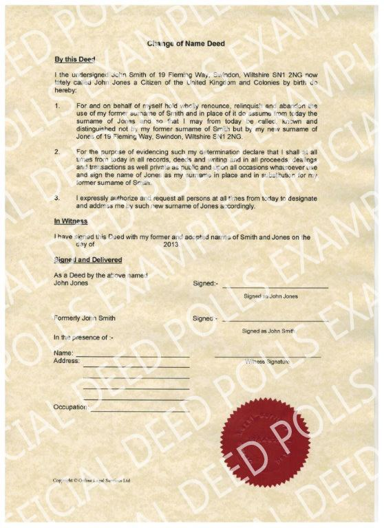Deed poll Official DeedPolls Legally change your name by deed poll online