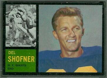 Del Shofner Del Shofner 1962 Topps 106 Vintage Football Card Gallery