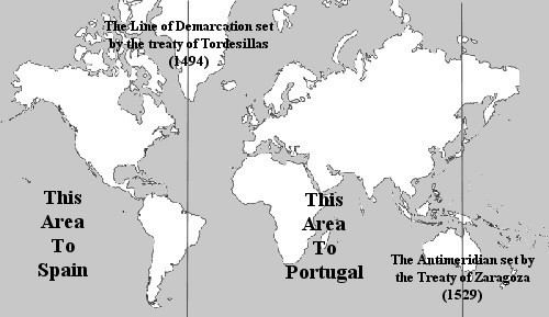 Demarcation line Line of demarcation dividing the nonEuropean world into two zones