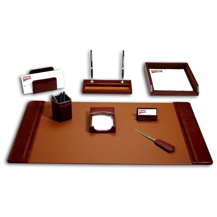 Desk Set Dacasso Sassari Leather 8Piece Desk Set Hayneedle