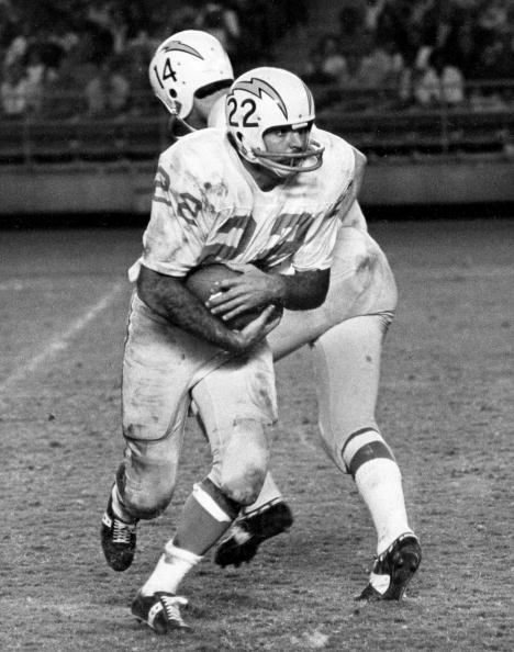 Dickie Post San Diego Chargers runnning back Dickie Post takes the handoff from