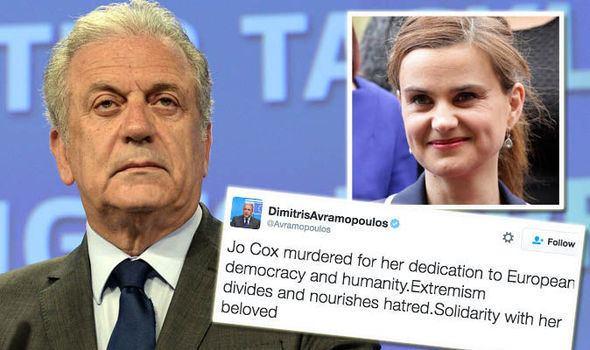 Dimitris Avramopoulos Jo Cox killing EU Commissioner Dimitris Avramopoulos under fire