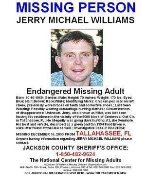 Disappearance of Jerry Michael Williams FL JERRY MIKE WILLIAMS Missing from Lake Seminole Tallahassee