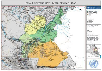 Diyala Governorate Kurdipedia DIYALA GOVERNORATE DISTRICTS MAP IRAQ