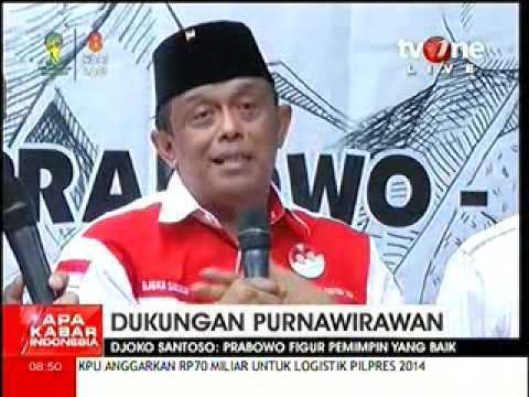 Djoko Santoso DUKUNGAN JENDpurnawirawan TNI DJOKO SANTOSO UNTUK PRABOWO YouTube