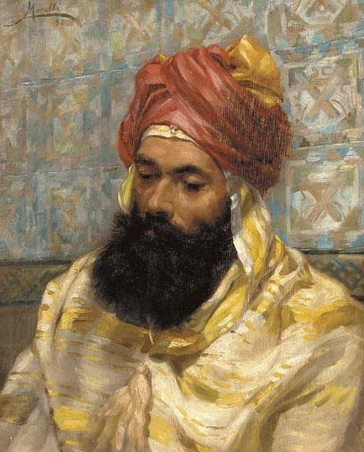 Domenico Morelli Domenico Morelli Portrait of a man with a turban