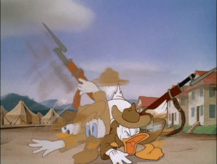 Donald Gets Drafted movie scenes  Donald Gets Drafted RKO 9 mins Swell The usual Disney standard is maintained in Donald Duck s latest experience The opening sequence shows him looking