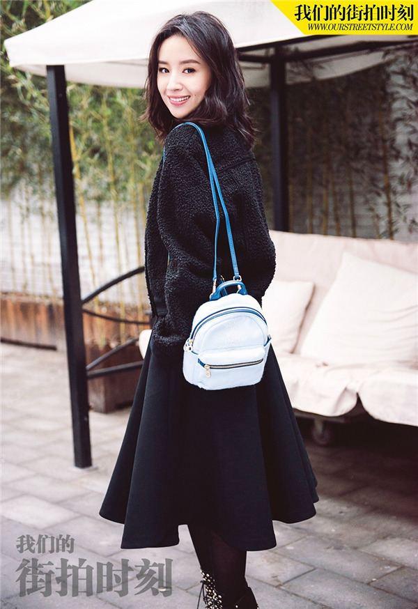 Dong Jie Actress Dong Jie poses for street style fashion shots Xinhua