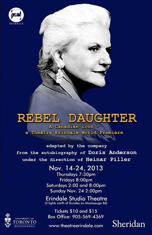 Doris Anderson For Immediate Release Nov 6 2013 Department of English Drama