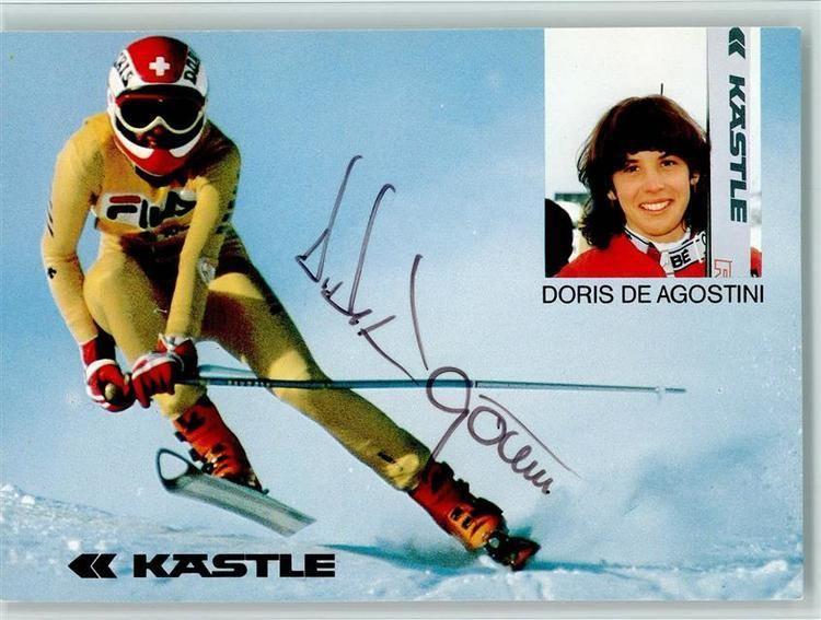 Doris de Agostini Ski Doris de Agostini bei der Abfahrt Original Autogramm