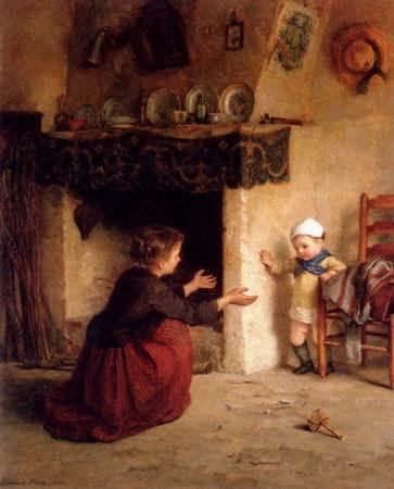 Edouard Frere Frere Pierre Edouard Babys First Steps painting aFrere