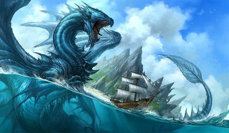 A blue dragon at the sea