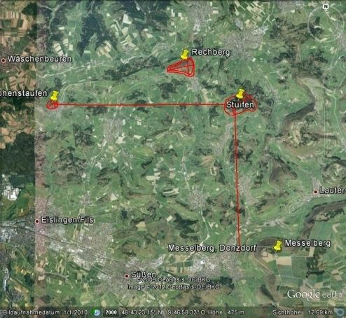 Drei Kaiserberge AA001 0a 3kaiser dreieck messelberg Satellitenbildjpg