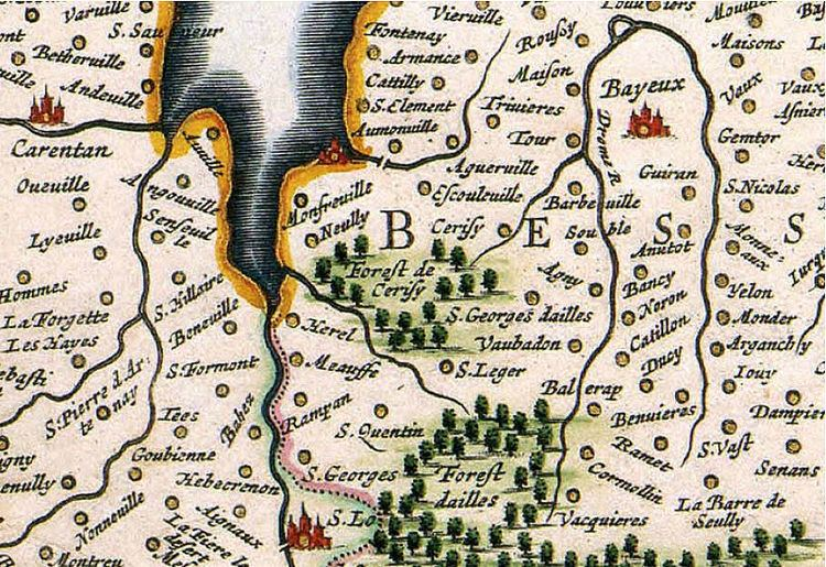 Duchy of Normandy FileLocation of CerisylaFort on William Blaeu39s map of the Duchy