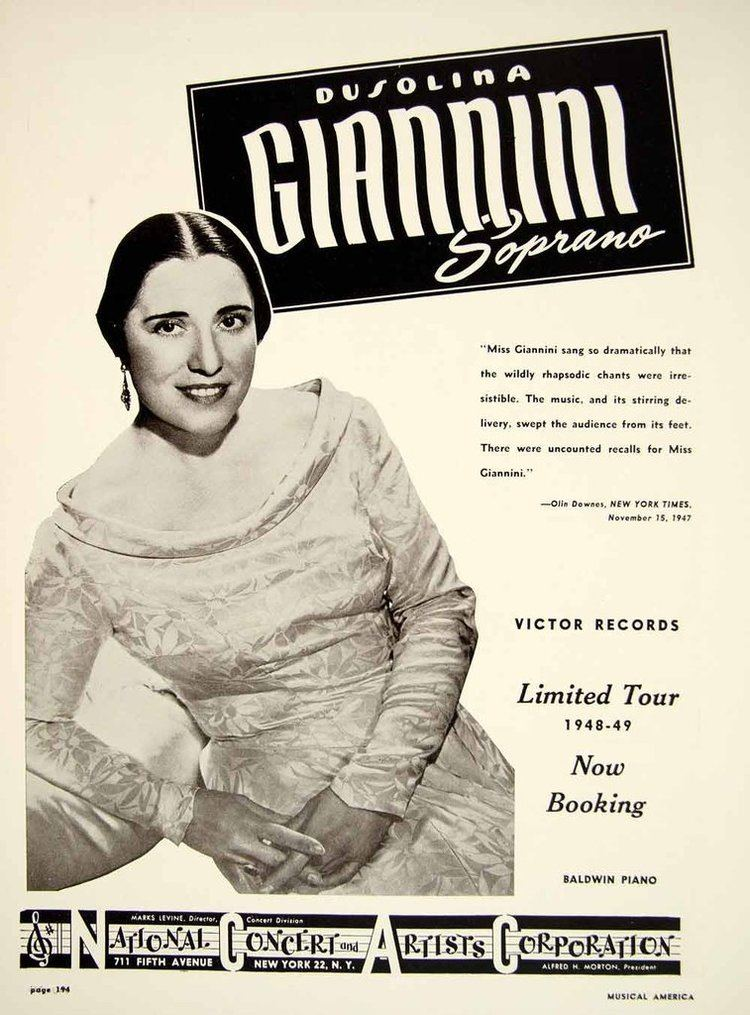 Dusolina Giannini 1948 Booking Ad Dusolina Giannini Soprano Singer Opera Operatic
