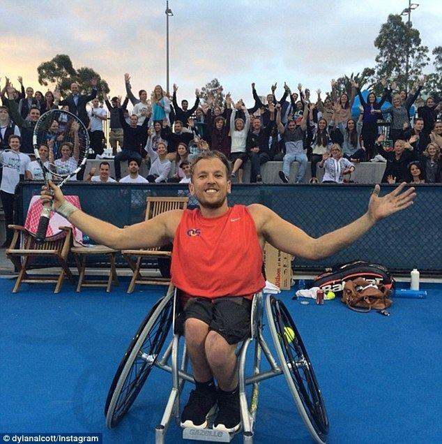 Dylan Alcott Rachael Finch gets lesson wheelchair tennis player Dylan
