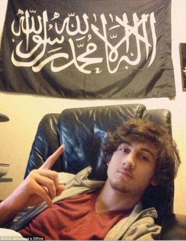 Dzhokhar Tsarnaev Boston Marathon bomber Dzhokhar Tsarnaev poses with ISISstyle