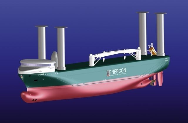E-Ship 1 EShip 1 with Sailing Rotors to Reduce Fuel Costs and to Reduce