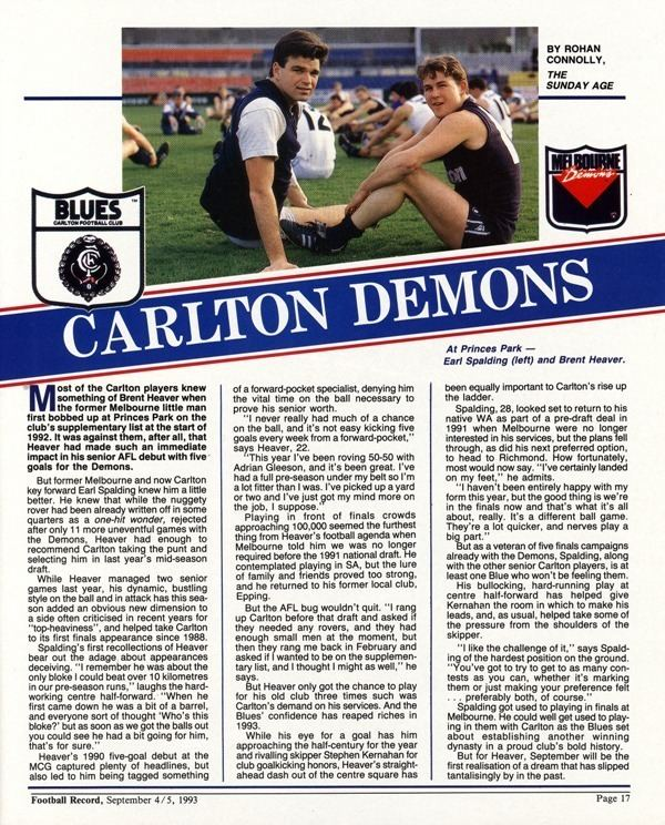 Earl Spalding Blueseum History of the Carlton Football Club SPALDING Earl