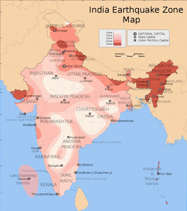 Earthquake zones of India