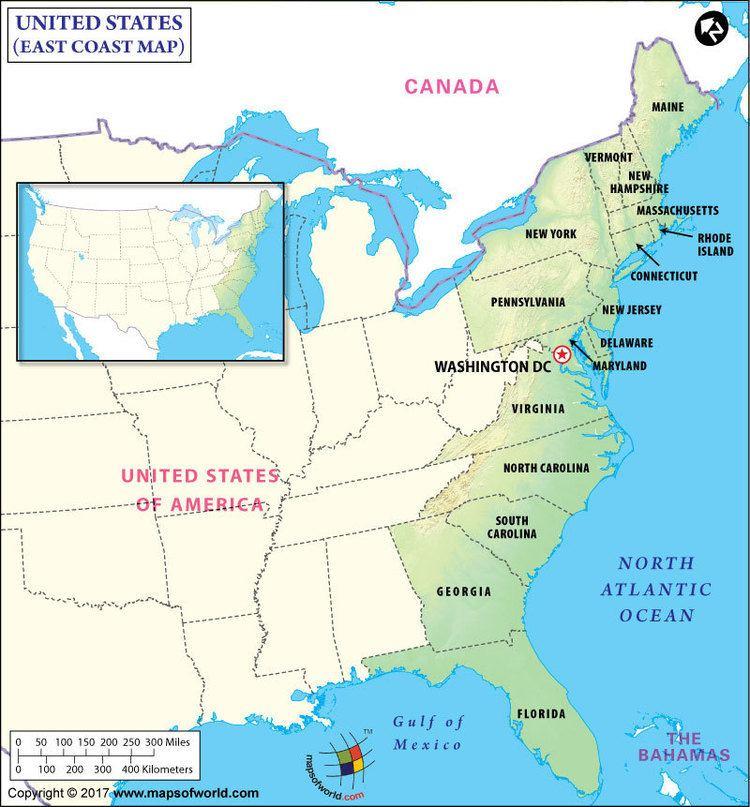 East Coast of the United States East Coast Map Map of East Coast East Coast States USA Eastern US