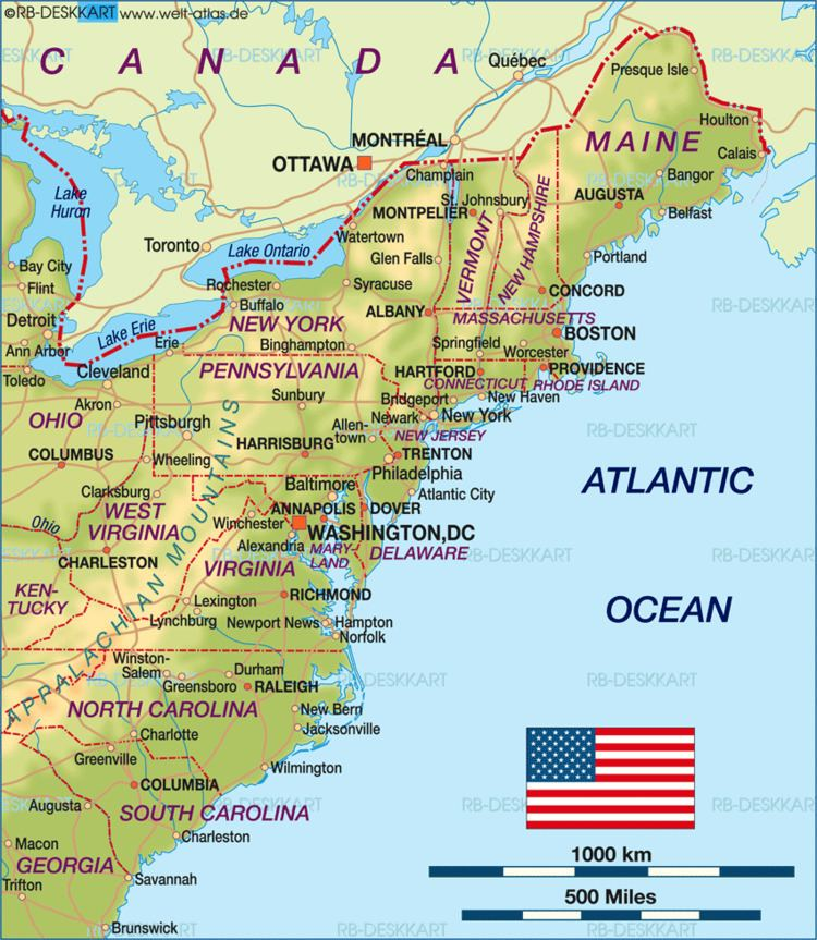 East Coast of the United States Map of East Coast USA United States Map in the Atlas of the