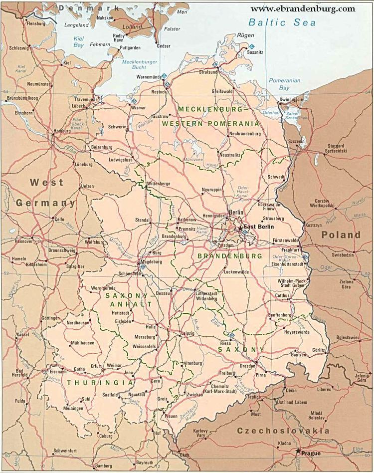 East Germany Map East Germany 1970