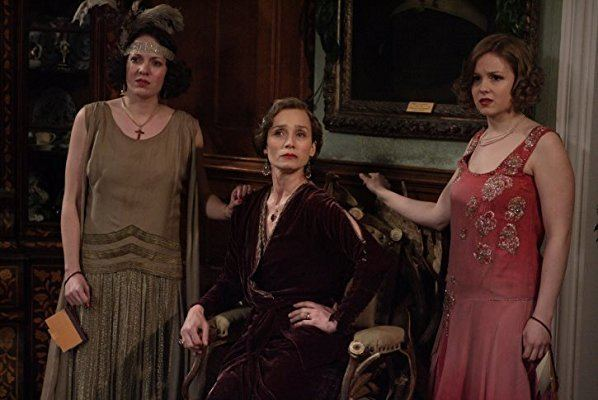 Easy Virtue (2008 film) movie scenes Kristin Scott Thomas as the matriarchal mother in law Mrs Whittaker flanked by her daughters in fading evening wear in Easy Virtue Photo Sony Classics