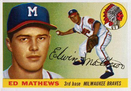 Eddie Mathews 1955 Topps Eddie Mathews 155 Baseball Card Value Price Guide