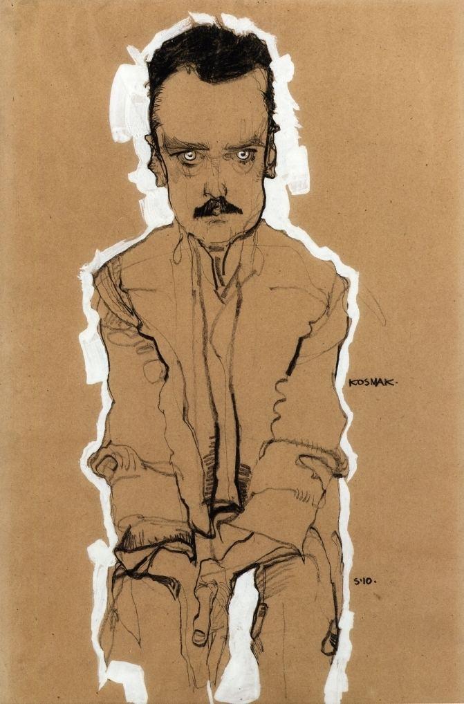 Egon Schiele Portrait of Eduard Kosmack Frontal with Clasped Hands