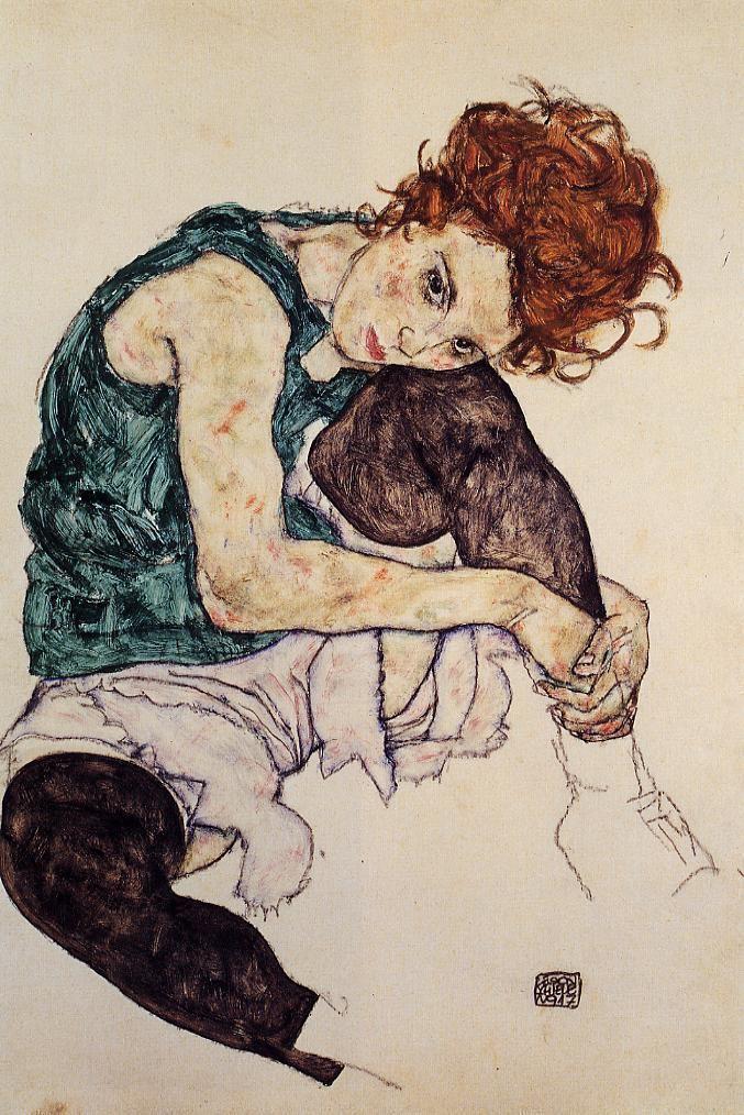 Egon Schiele Seated Woman with Bent Knee Egon Schiele WikiArtorg