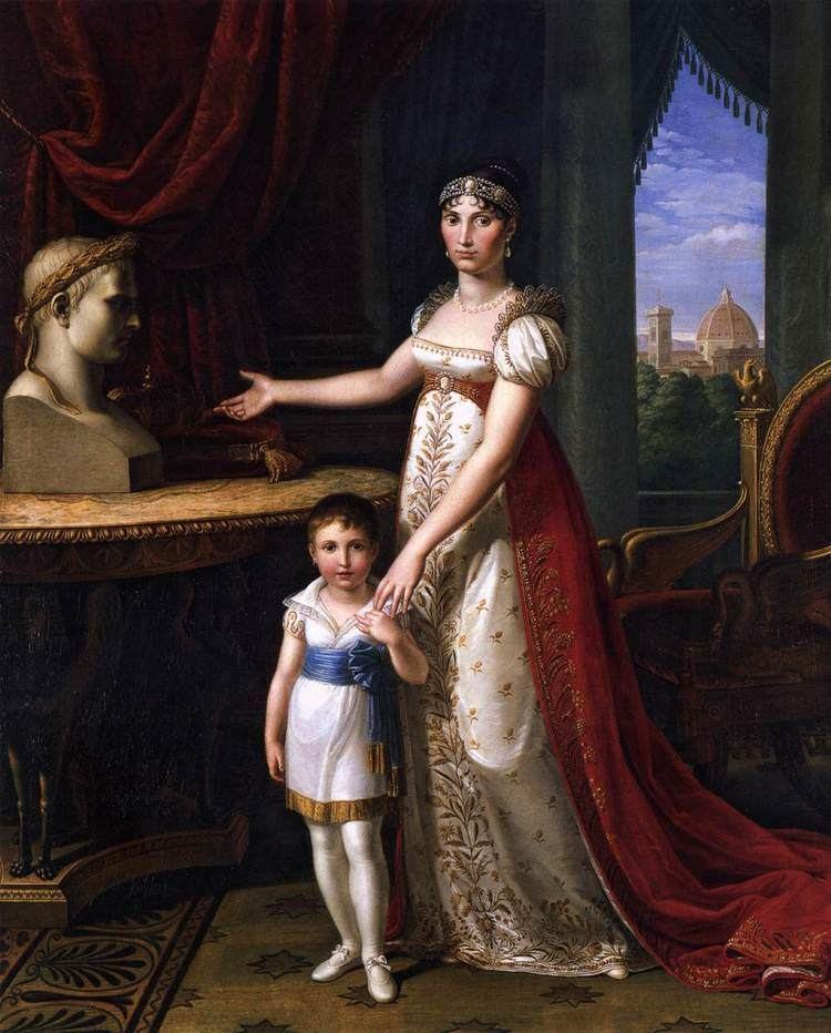 Elisa Bonaparte Elisa Bonaparte and Her Daughter by BENVENUTI Pietro