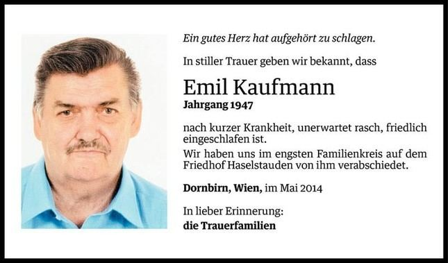 Emil Kaufmann Emil Kaufmann Todesanzeige VN Todesanzeigen