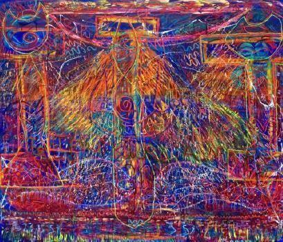 Emily Karaka Te Ipu Kura a Maki Oil mixed medium on stretched canvas by Emily