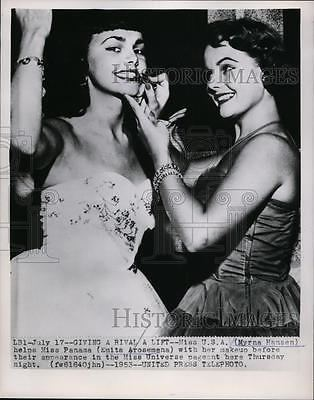 Emita Arosemena 1953 Press Photo Miss Usa Myrna Hansen Miss Panama Emita Arosemena