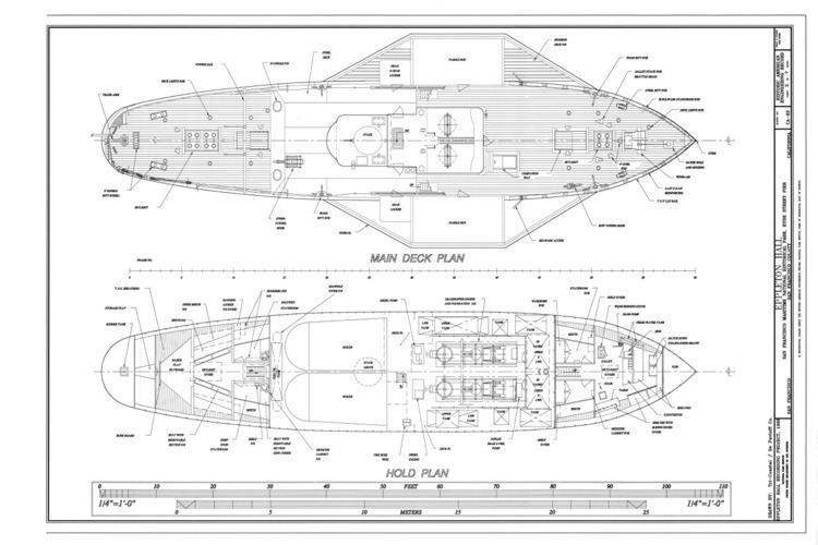 Eppleton Hall (1914) FileMain Deck Plan Hold Plan Steam Tug EPPLETON HALL Hyde