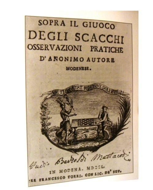 Ercole del Rio Ercole del Rio Sopra il giuoco degli scacchi 1750