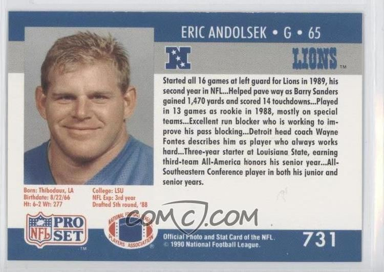 Eric Andolsek 1990 Pro Set 731 Eric Andolsek COMC Card Marketplace