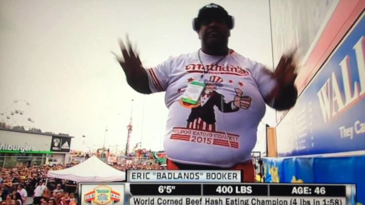 Eric Booker Eric Badlands Booker Nathans hot dog eating contest best intro July