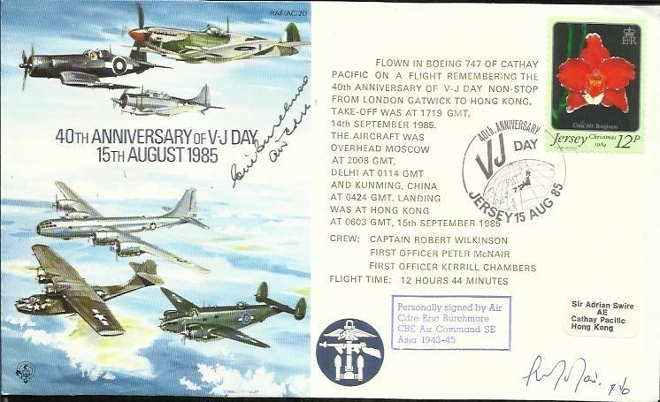 Eric Burchmore Air Cdre Eric Burchmore CBE signed 40th Anniversary of V J Day 158