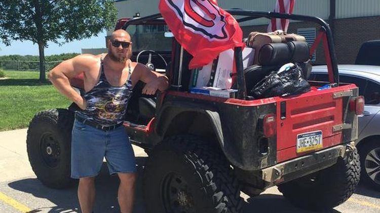 Eric Kush True American Eric Kush drives to Chiefs training camp in