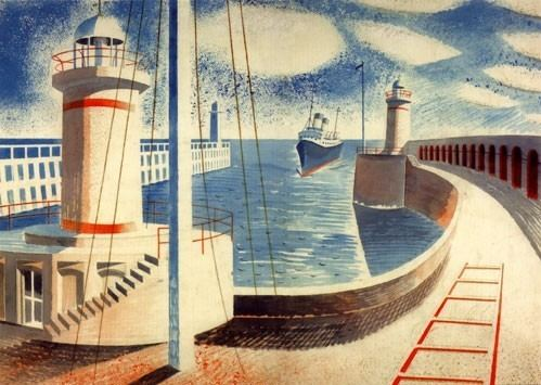 Eric Ravilious Newhaven Harbour by Eric Ravilious