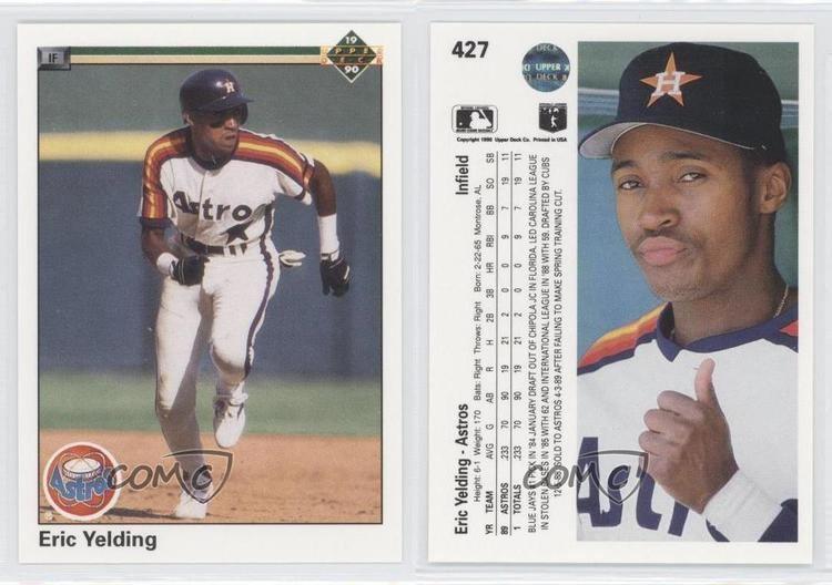 Eric Yelding 1990 Upper Deck 427 Eric Yelding Houston Astros RC Rookie Baseball