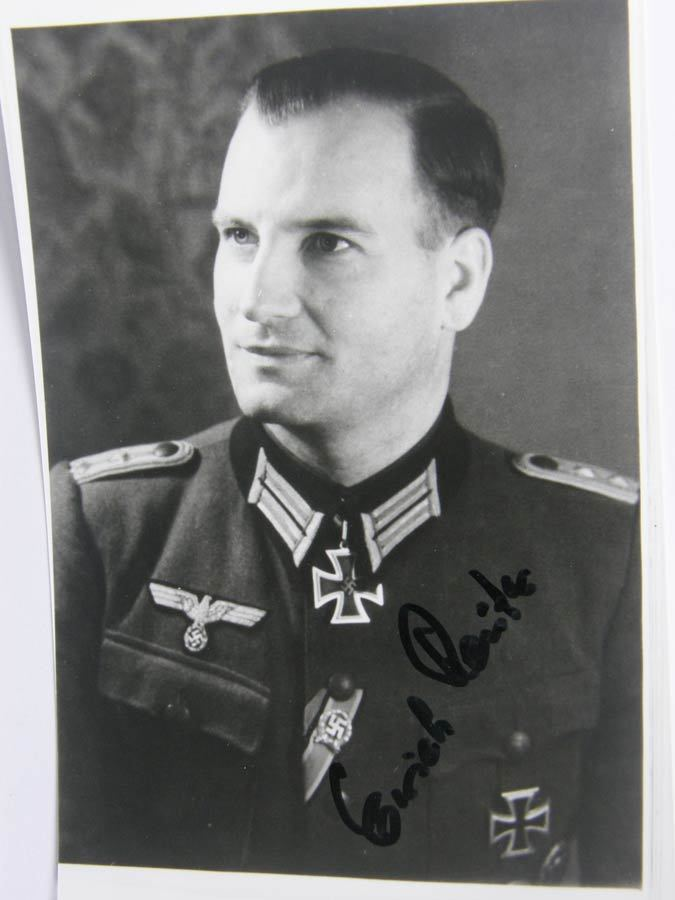 Erich Reuter POSTWAR SIGNED KNIGHTS CROSS WINNER HPTM ERICH REUTER World War