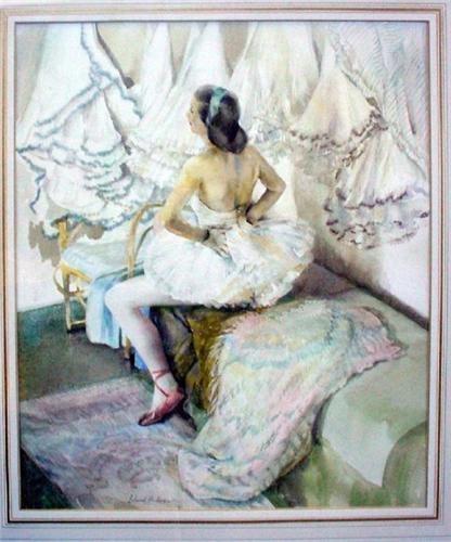 Erlund Hudson Erlund Hudson 1912 watercolour Dressing Room Corner signed in